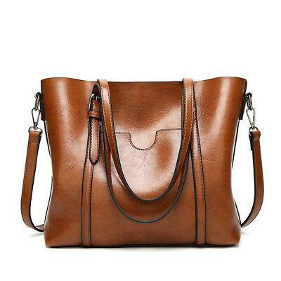 Women Large Retro Handbag Leather Shopping Bag Crossbody Shoulder Tote - EY Shopping