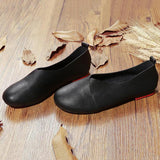 Large Size Pure Color Slip On Vintage Casual Flat Loafers - EY Shopping