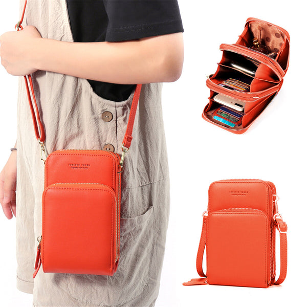 Women Solid Faux leather Muti-Pocket Clutches Bag Card Bag Phone Bag Crossbody Bag Large capacity