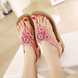 US Size 5-10 SOCOFY Women Diamond Bohemian Casual Outdoor Beach Flower Flat Sandals