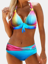 Plus Size Gradient Tie-dye Print Bikini Halter Front Tie Swimsuit - EY Shopping