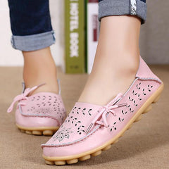 SOCOFY Large Size Floral Hollow Out Comfy Shoes Casual Lace Up Flats - EY Shopping