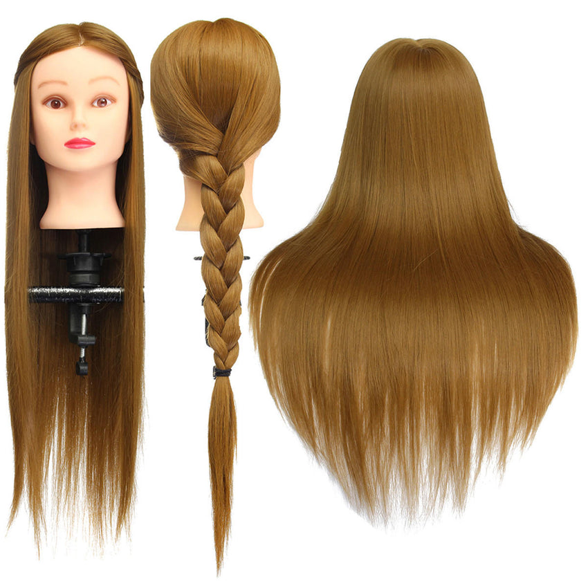 "26"" Light Brown 30% Human Hair Training Mannequin Head Model Hairdressing Makeup Practice with Clamp"