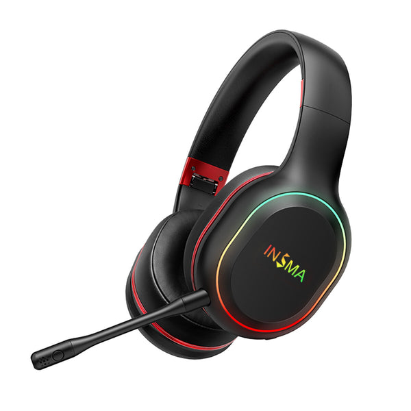 INSMA P80S Vibration Stereo Colorful LED Light bluetooth Gaming Headphone Foldable Over Ear Headset with Mic for PC XBOX PS4
