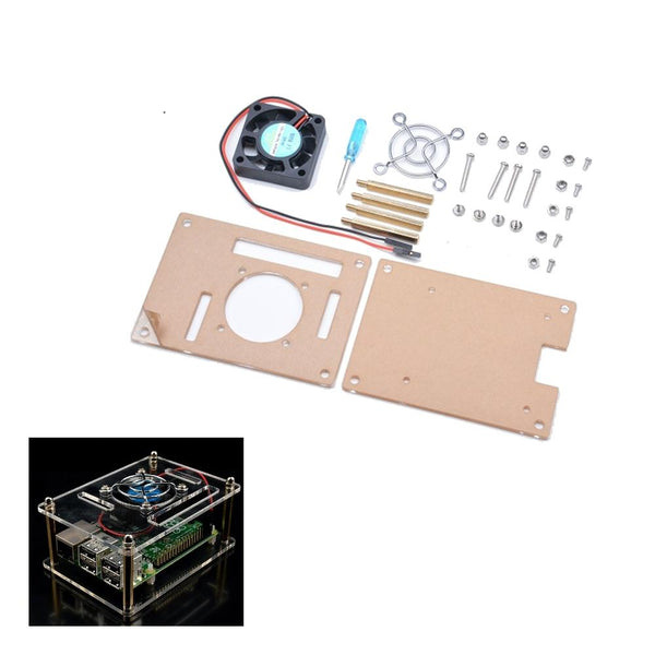 Transparent Acrylic Case + Cooling System External Fan + Screwdriverr Tool For Raspberry Pi 4/3/2/B/B+