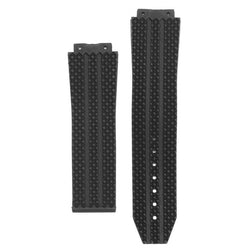 25mm Replacement Black Silicone Rubber Watch Strap For HUBLOT