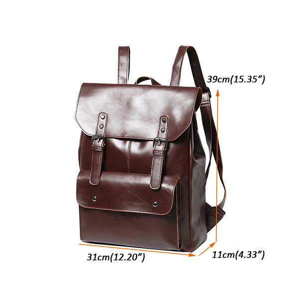 Men And Women Retro Leather Large Capacity Backpack Travel Bag