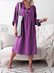 Women Long Sleeve Button Lapel Causal Shirt Dress - EY Shopping