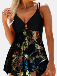 Plus Size Women Vintage Print V-Neck Adjustable Straps Black Backless Swimdress - EY Shopping