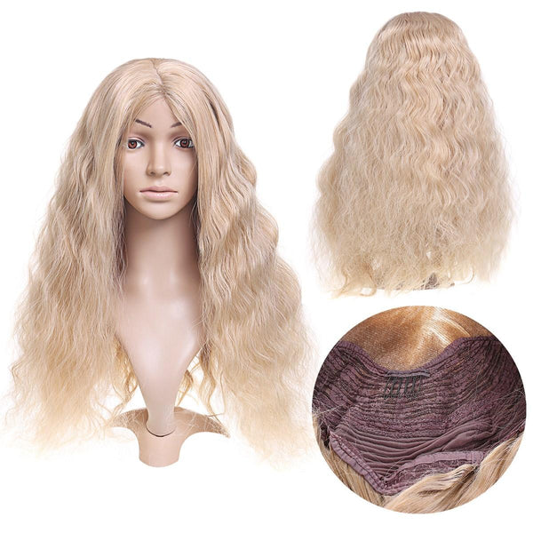 14-26'' Long Blonde Wavy Wig Synthetic Lace Front Wig Heat Resistant Fiber Hair