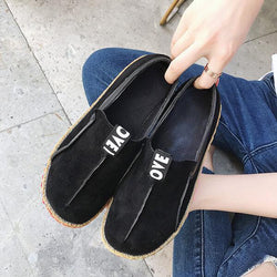 Big Size Women Casual Round Toe Soft Sole Shoe Pure Color Flat Loafers - EY Shopping