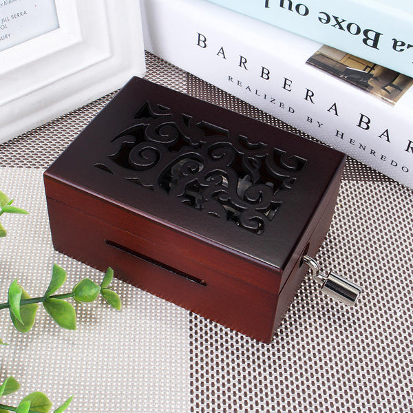 15 Tone DIY Hand Cranked Carved Music Box Classic Box With Hole Puncher 30 Pcs Paper Tapes