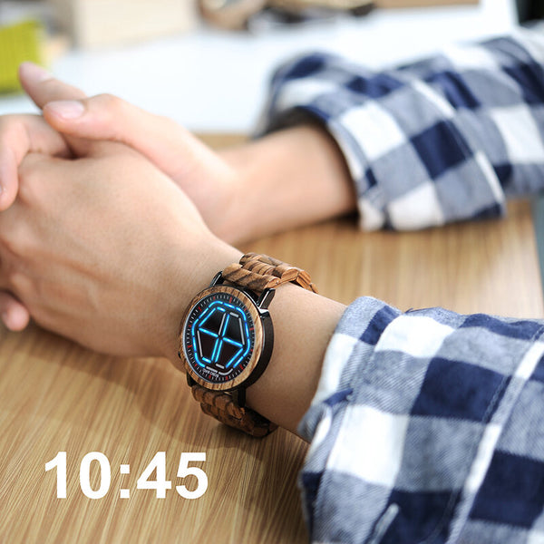 BOBO BIRD P13 Unique Design Digital Watch Night Version LED Wooden Wrist Watch