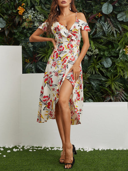 Slit Hem Random Floral Print Off Shoulder Casual Midi Dress - EY Shopping