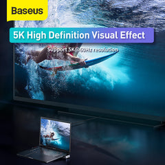 Baseus 9 In 1 USB-C Hub Docking Station Adapter Laptop Stand With 3 * USB 3.0 / 2 * Thunderbolt 3/ 100W Type-C PD / 5K@60HZ HD Display / RJ45 Port / 3.5mm Audio Jack