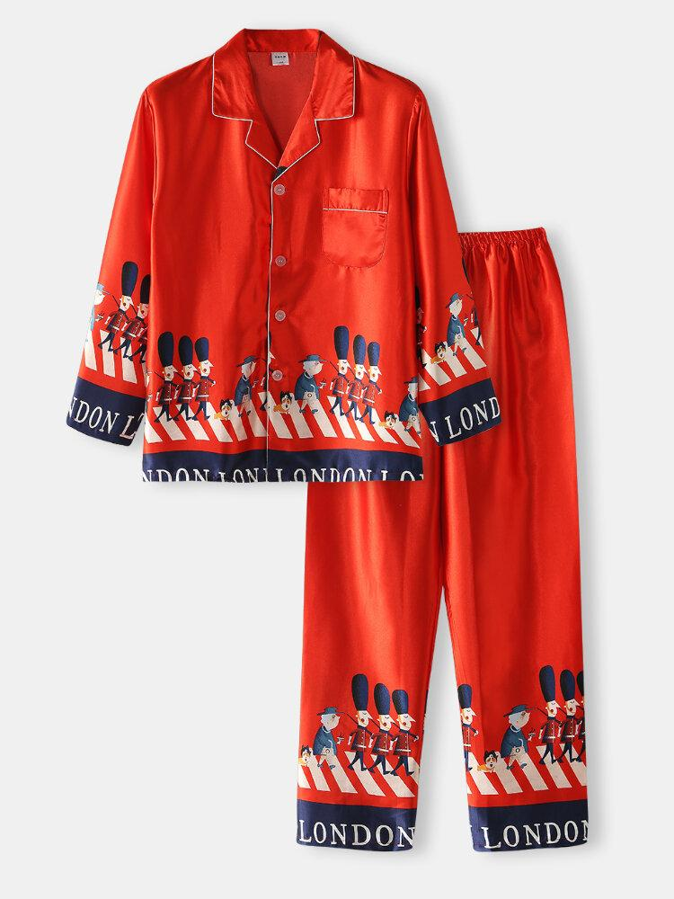 Mens Cartoon Soldier Print Text Tape Faux Silk Home Casual Pajama Set With Flap Pocket - EY Shopping