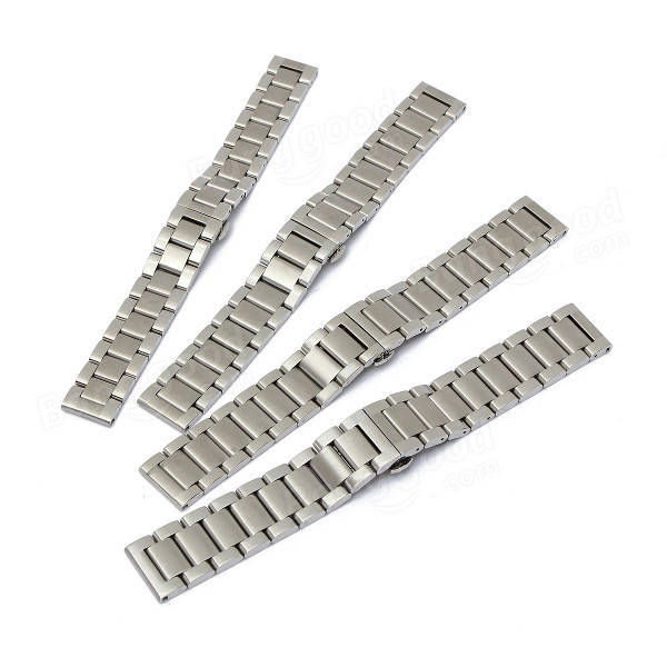 18/20/21/22mm Stainless Steel Silver Color 3 Beads Watch Band