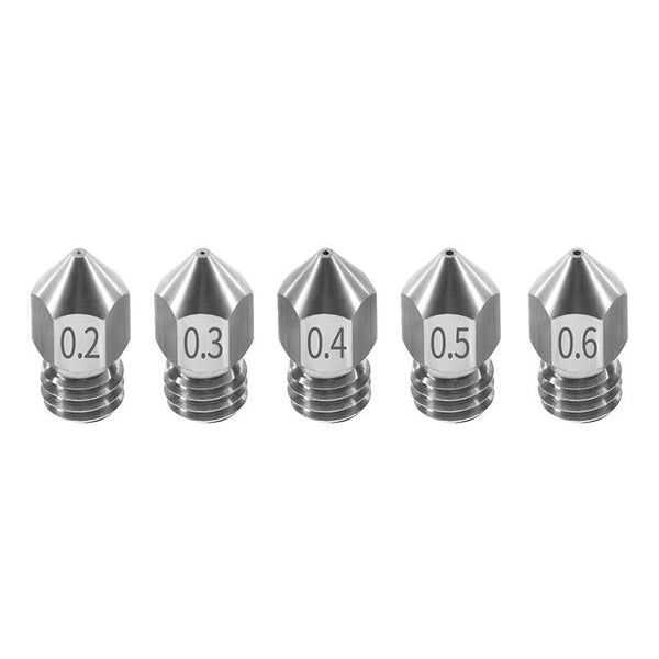 TWO TREES 5PCS Nozzle 0.2mm/0.3mm/0.4mm/0.5mm/0.6mm M6 Thread Stainless Steel for 1.75mm Filament 3D Printer
