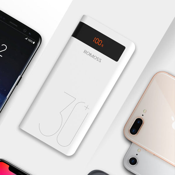 ROMOSS 30000mAh Power Bank PD Quick Charge PD 3.0 Fast Charging For iPhone for iPhone XS 11Pro Xiaomi Mi10 Redmi Note 9S