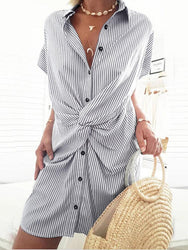 Casual Loose Front Cross Short Sleeve Lapel Shirt Dress - EY Shopping