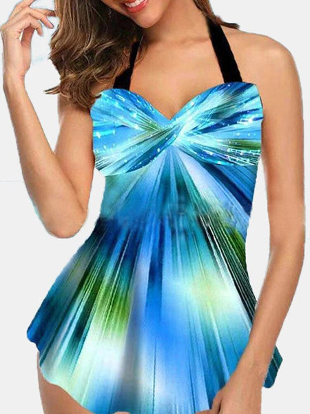 Plus Size Women Gradient Print Twisted Cover Belly Swimdress For Swimming - EY Shopping