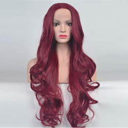 Large Red Wavy Long Wig In Red