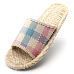 Women Anti-slip Flax Sole Plaid Open Toe Home Slippers