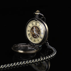 DEFFRUN Retro Style Mechanical Pocket Watch 34cm Chain Men Watch