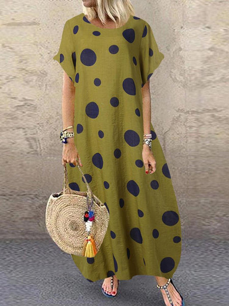 Polka Dot Print O-neck Loose Bohemian Long Maxi Dress - EY Shopping