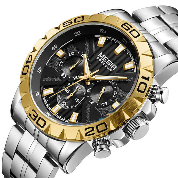 MEGIR 2087 Business Hardlex Mirror Luminous Waterproof Quartz Watch Stainless Steel Men Wrist Watch