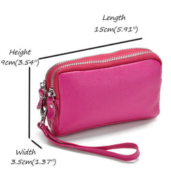 Women Genuine Leather Phone Pocket Multifunctional Clutch Bag Wallet