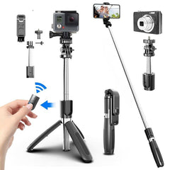 L02 bluetooth Wireless Selfie Stick All in One Tripod Foldable & Monopods Lighting Remote Control for Smartphones And Sports Action Cameras
