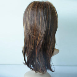 Synthetic Wig Long Straight Layered Hairstyle Ombre Black Brown Blonde Gray Ash Full Wigs