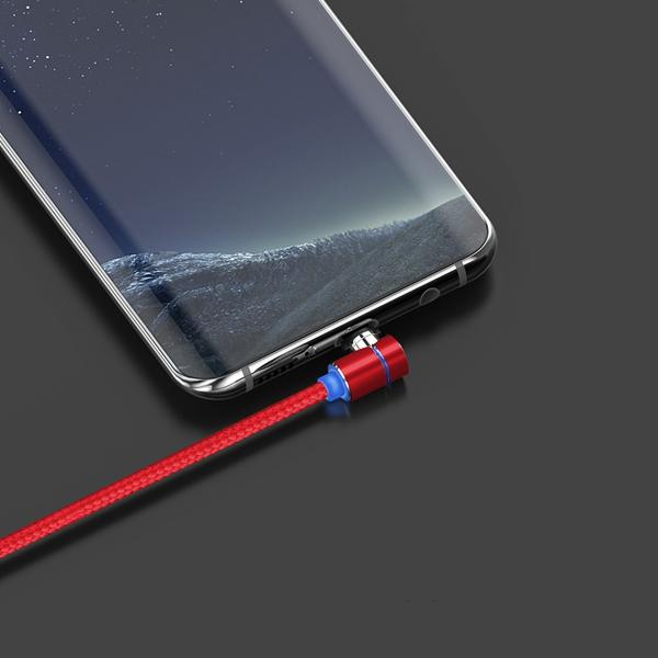 TOPK L-Line 90 Degree Angle Type C LED Magnetic Braided Fast Charging Data Cable 1M For Phone Tablet