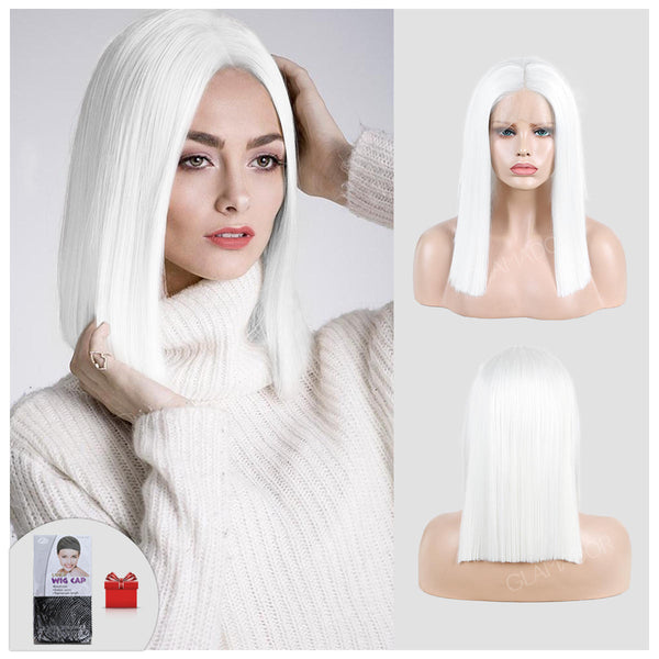 14inch white straight hair lace high temperature fiber synthetic wig