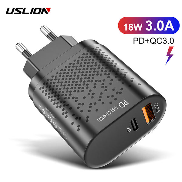 USLION 18W 3A Quik Charge 3.0 PD Charger USB Charger EU/US Plug for iPhone 12 XS 11Pro Huawei P30 Pro Mate 30 Xiaomi Mi10 Redmi K30 Oneplus 7T 5G for Samsung Galaxy Note S20 ultra
