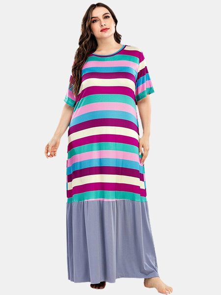 Plus Size Women Colorful Stripe Patchwork Short Sleeve Home Casual Nightgowns - EY Shopping
