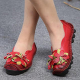 SOCOFY Genuine Leather Handmade Flower Loafers Soft Flat Casual Shoes - EY Shopping