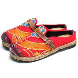 SOCOFY Soft Colorful Embroidered Buckle Folkways Backless Flat Shoes - EY Shopping