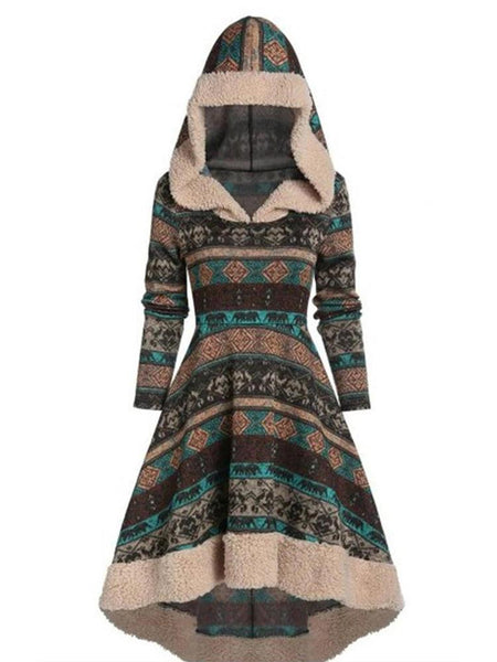 Long Sleeve  Fleece Hooded High Low Print Sweater Dress - EY Shopping