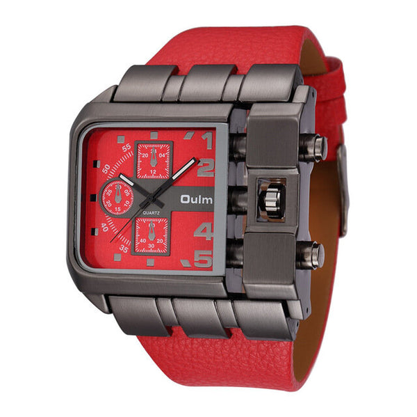 OULM 3364 Fashionable Creative Watch Square Dial Unique Design Leather Strap Quartz Watch