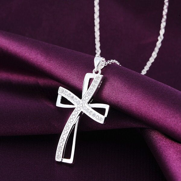 925 Sterling Silver Plated Women Cross Necklace Crystal Chain Jewelry