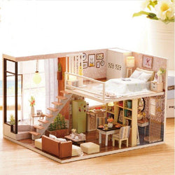 Cuteroom Doll House Miniature DIY Dollhouse With Furnitures Wooden House Waiting Time Toys For Child