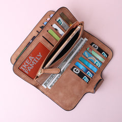 14 Card Slots Woman Four Fold Wallet Purse Faux Leather Card Bag Multi Card Slots Phone Bag