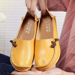 Large Size Soft Leather Multi-Way Flat Loafers For Women - EY Shopping