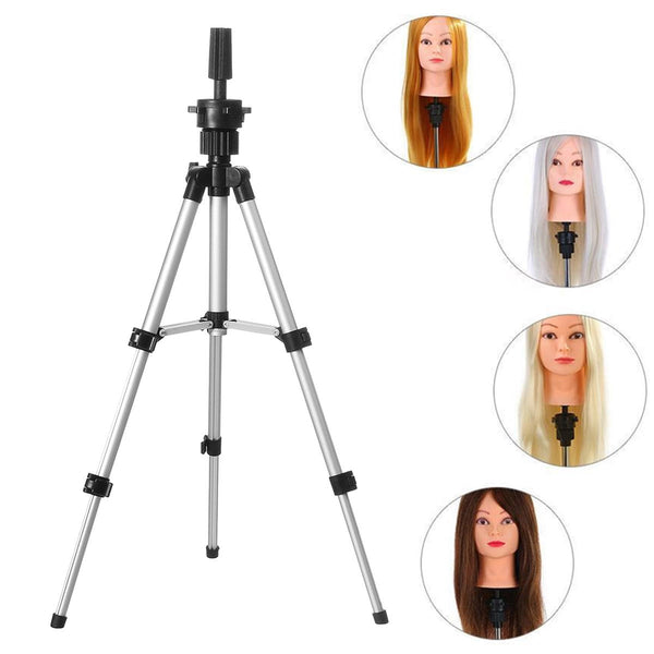 Mannequin Head Tripod Hairdressing Training Head Holder Hair Wig Stand Tools