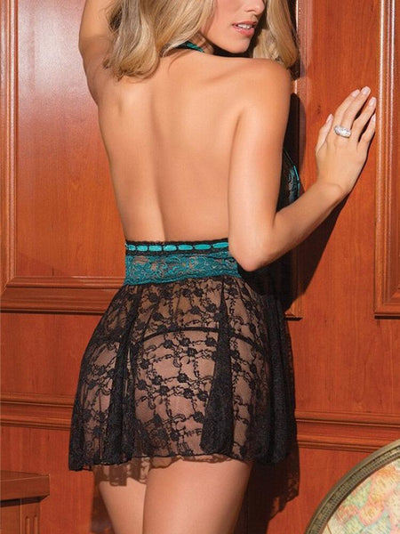 Women Lace Perspective Halter Backless Patchwork Nightgown - EY Shopping