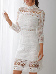 White Lace Hollow Out Design High Neck Long Sleeve Elegant Dress - EY Shopping