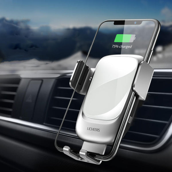 Licheers Metal Glass 10W Qi Wireless Charger Infrared Sensor Auto-clamping Air Vent Car Phone Holder For 4.0 Inch - 6.5 Inch Smart Phone