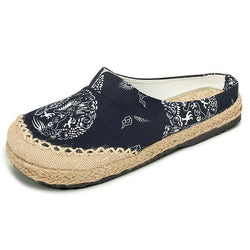 Women Casual Cotton Flax Outdoor Comfortable Round Toe Flat Loafer Shoes - EY Shopping